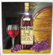 Hand Crafted Ceramic Art Tile Wine Bottle, Grapes and Barrels